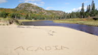 Beehive Mountain and Acadia written in sand video