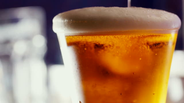 Beer bubbles in the high magnification and close-up. video