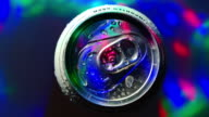 Beer can rotating Disco party light Water drops Colorful video