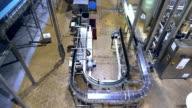 Beer factory interior with conveyer belt video