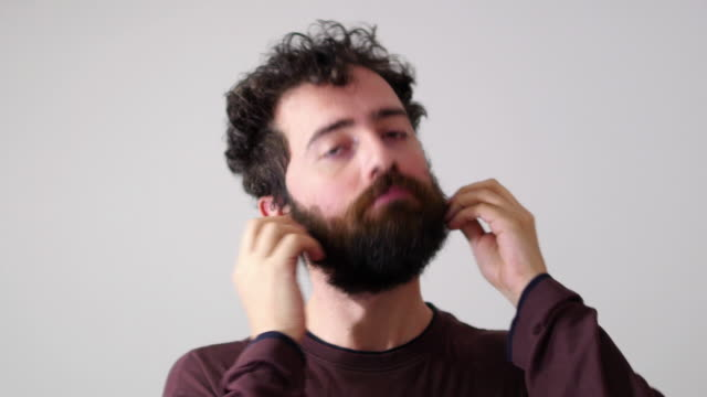 Before and after, facial hair cut, funny man face video