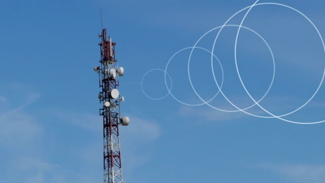 Beginning and end of signal from the radio tower. video