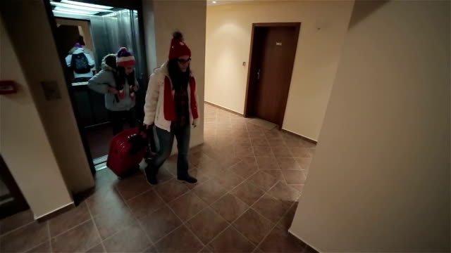 Beginning of winter vacation, arrival at the hotel video
