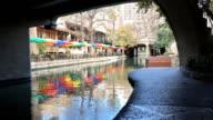 Behind bridge over the Riverwalk in San Antonio video