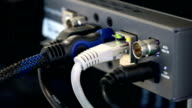 Behind hdmi signal video switching with ethernet lan line port blinking video