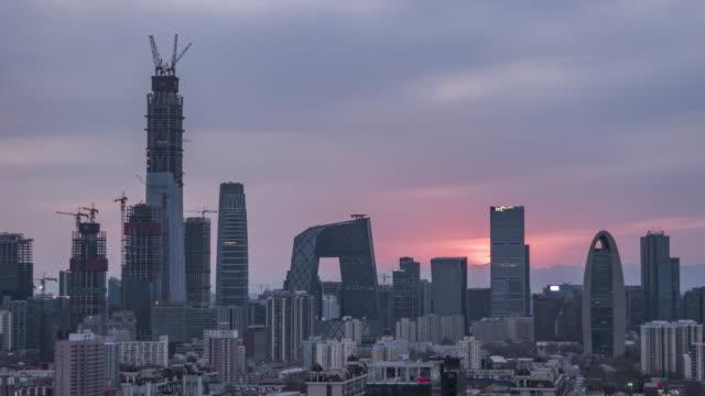T/L MS HA ZI Beijing CBD Sunset / Beijing, China video