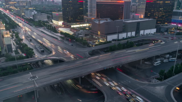 T/L MS HA TU Beijing Central Business District and Road Intersection, Day to Night Transition / Beijing, China video