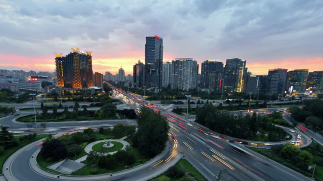 4K: Beijing Cityscape and Modern City Traffic, China video