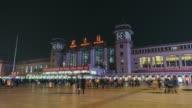 T/L WS LA Beijing Railway Station at Night / Beijing, China video