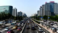 Beijing,China-Aug 13,2014: The heavy traffic near the Second Ring Road in Beijing, China video