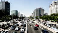 Beijing,China-Aug 13,2014: The heavy traffic of the Second Ring Road in Beijing, China video