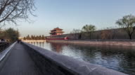 Beijing,China-Mar 21,2016: At sunset, walking and looking the beautiful view of the tower of the Forbidden City, Beijing, China video