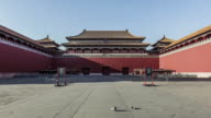 Beijing,China-Mar 21,2016: The Meridian Gate building(one part of the Forbidden City) and the sky, Beijing, China video