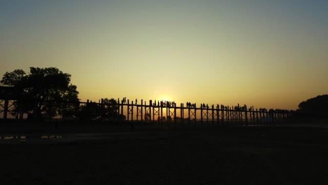 U Bein Bridge at Sunset, Myanmar video