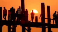U Bein Bridge at sunset video