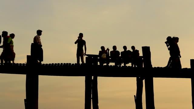 U Bein Bridge in Mandalay, Myanmar video