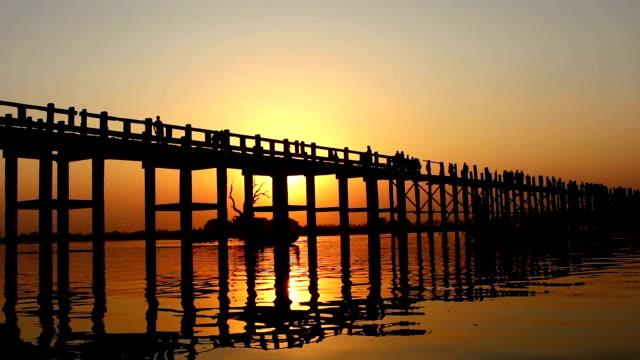 U Bein Wooden Bridge at Sunset 1 video
