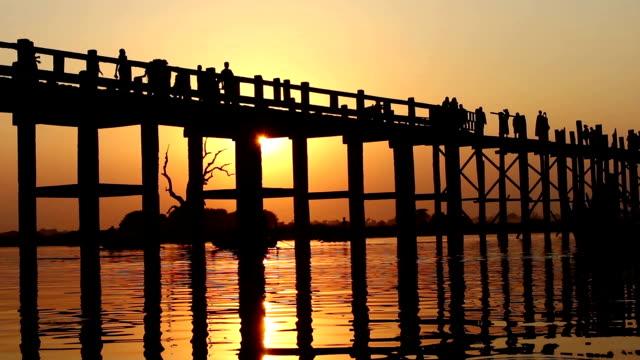 U Bein Wooden Bridge at Sunset 3 video