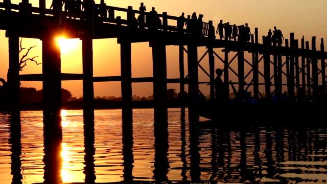 U Bein Wooden Bridge at Sunset 5 video