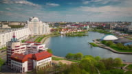 belarus day minsk nemiga river bay hotel roof top panorama 4k time lapse video