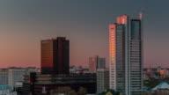 belarus minsk city famous center buildings sunset panorama 4k time lapse video