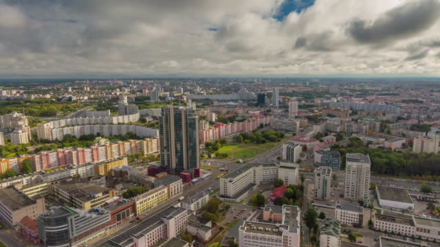 belarus minsk city summer day rainy clouds aerial panorama 4k time lapse video