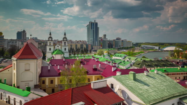 belarus minsk city sunny day old center colored roofs 4k time lapse video