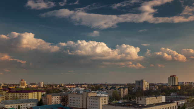 belarus minsk city sunny day roof top panorama 4k time lapse video