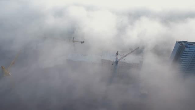 belarus minsk city sunrise fog famous living block aerial panorama 4k video