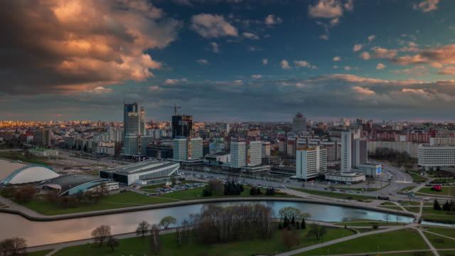 belarus minsk city sunset light roof top river bay panorama 4k time lapse video