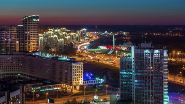 belarus minsk city sunset traffic avenue roof top panorama 4k time lapse video