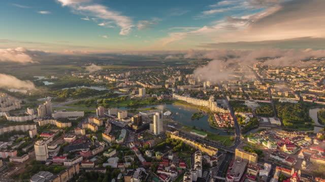 belarus minsk cityscape sunset sunrise aerial center panorama 4k time lapse video