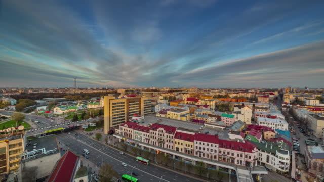 belarus minsk nemiga city roof top sunset panorama 4k time lapse video