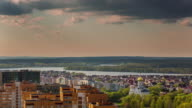 belarus minsk sea drozdi roof top panorama 4k time lapse video