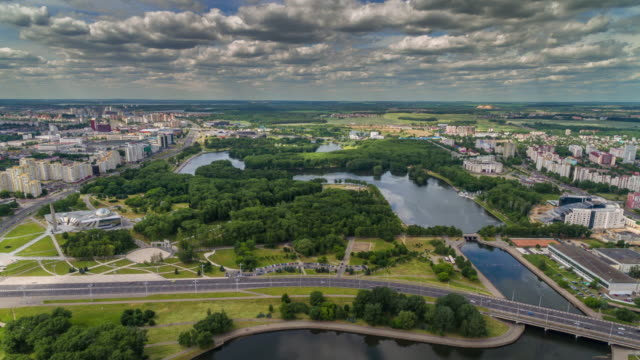 belarus minsk summer day center victory park aerial panorama 4k time lapse video