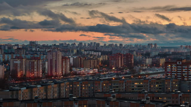 belarus minsk sunset cityscape roof top panorama 4k time lapse video