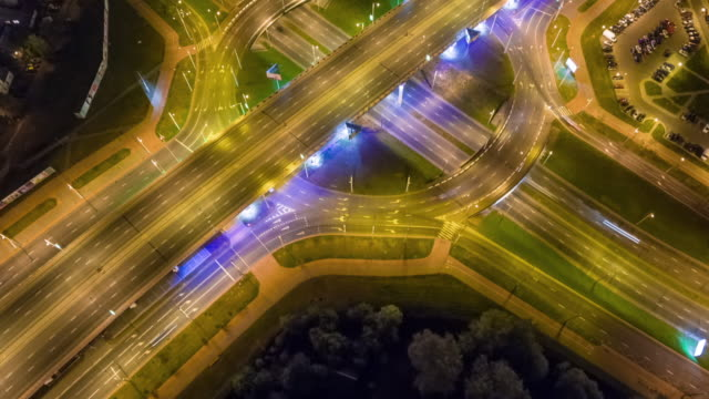 belarus night illumination city road junction circle traffic aerial panorama 4k time lapse minsk video