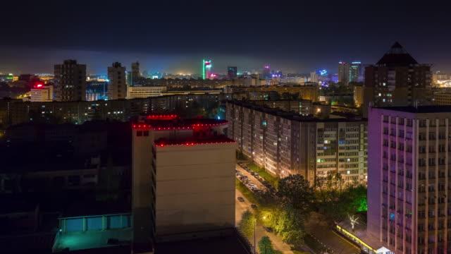 belarus night illumination city roof top panorama 4k time lapse minsk video