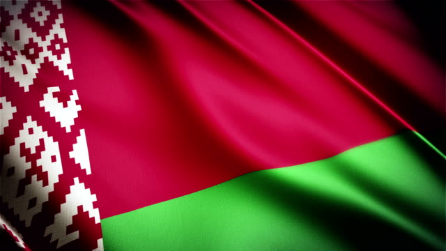 Belarus realistic national flag seamless looped waving animation video