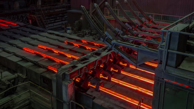 belarus steel factory hot metal conveyor inside view panorama 4k time lapse video