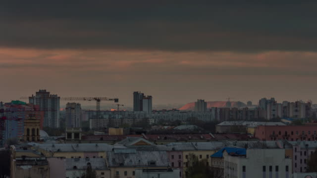 belarus summer sunset industrial roof top city panorama 4k time lapse minsk video