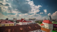 belarus sunny day minsk city old center roof top panorama 4k time lapse video