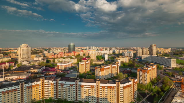 belarus sunny day morning minsk roof top panorama 4k time lapse video