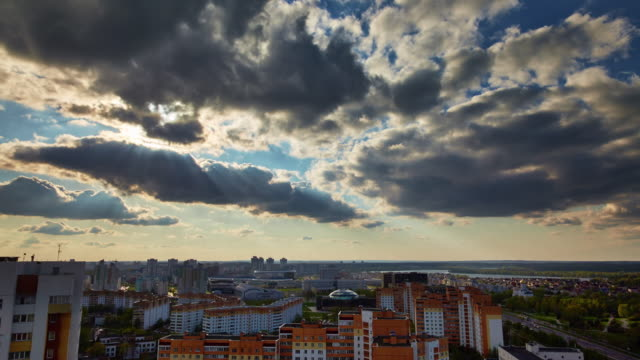 belarus sunny evening minsk city roof top panorama 4k time lapse video
