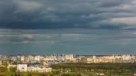 belarus sunny sky minsk city roof top panorama 4k time lapse video