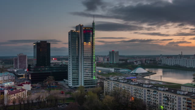 belarus sunrise city center roof top river bay panorama 4k time lapse minsk video