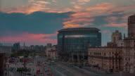 belarus sunset main train station area traffic panorama 4k time lapse minslk video