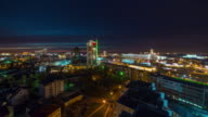 belarus sunset night city center roof top panorama 4k time lapse video