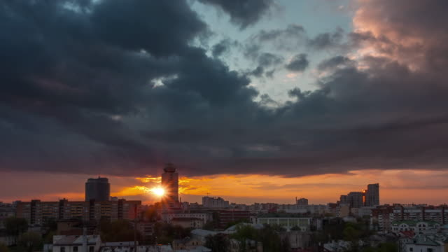 belarus sunset sky city center roof top panorama 4k time lapse minsk video