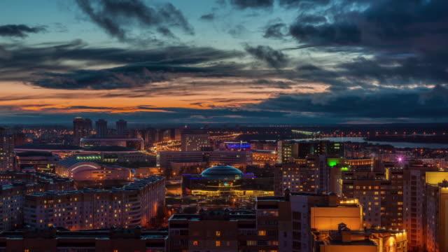 belarus sunset sky minsk city roof top panorama 4k time lapse video